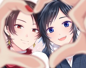 Rating: Safe Score: 24 Tags: all_male anthropomorphism black_hair blue_eyes brown_hair close cropped kashuu_kiyomitsu kumaru_ayaka male red_eyes touken_ranbu yamato-no-kami_yasusada User: mattiasc02