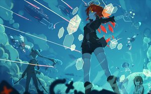 Rating: Safe Score: 73 Tags: airship armor bai_yemeng bandage bicolored_eyes blood boots brown_hair chain clouds gloves long_hair original ponytail red_hair short_hair shorts signed sky sword thighhighs tian_ling_ganlu tian_ling_qian_ye tie torn_clothes weapon wings yellow_eyes User: RyuZU