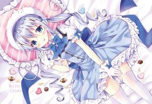 Rating: Safe Score: 70 Tags: bitter_crown blue_eyes blush candy chocolate dress gloves gochuumon_wa_usagi_desu_ka? kafuu_chino long_hair thighhighs twintails waifu2x watermark zettai_ryouiki User: BattlequeenYume