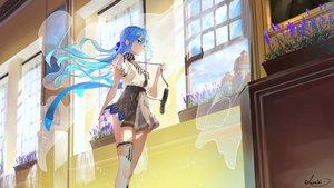 Rating: Safe Score: 104 Tags: aliasing aqua_eyes aqua_hair long_hair original saraki skirt thighhighs User: BattlequeenYume