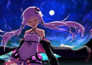 Rating: Safe Score: 78 Tags: kurakumo_nue moon night purple_hair sky stars twintails vocaloid yuzuki_yukari User: FormX