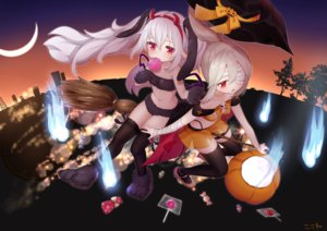 Rating: Safe Score: 22 Tags: 2girls animal_ears ayanami_(azur_lane) azur_lane bandage blonde_hair bunny_ears candy cosplay eyepatch garter gloves halloween hat headband horns koko_ne laffey_(azur_lane) loli lollipop long_hair magic moon navel night ponytail pumpkin red_eyes signed silhouette skirt thighhighs tree twintails white_hair witch witch_hat User: otaku_emmy