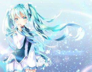 Rating: Safe Score: 58 Tags: aqua_eyes aqua_hair blue blush flowers hatsune_miku long_hair petals shiro_kuma_shake skirt tie twintails vocaloid User: BattlequeenYume