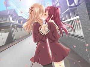 Rating: Safe Score: 385 Tags: kiss matsubara_yuna oda_nanami peko school_uniform shoujo_ai sono_hanabira_ni_kuchizuke_wo User: Oyashiro-sama
