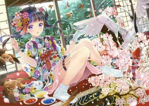 Rating: Safe Score: 86 Tags: animal bird black_hair blush cherry_blossoms fish flowers gloves japanese_clothes kimono long_hair purple_eyes scan tagme_(artist) tree User: BattlequeenYume
