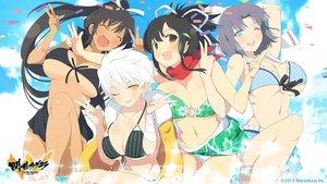 Rating: Questionable Score: 181 Tags: asuka_(senran_kagura) bikini breasts cleavage dark_skin homura_(senran_kagura) miyabi_(senran_kagura) senran_kagura swimsuit tan_lines underboob water wink yaegashi_nan yumi_(senran_kagura) User: Wiresetc