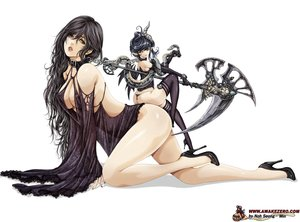 Rating: Questionable Score: 224 Tags: animal black_eyes black_hair breasts chain cleavage collar horns noh_seong-min original panties pointed_ears scythe snake thighhighs underwear watermark weapon User: FormX