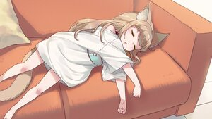 Rating: Safe Score: 47 Tags: 40hara animal_ears brown_hair catgirl choker couch cropped kinako_(40hara) loli long_hair original sleeping tail third-party_edit waifu2x User: gnarf1975