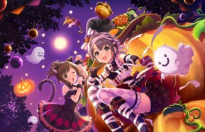 Rating: Safe Score: 25 Tags: 2girls animal_ears annin_doufu bandage boots bow brown_hair catgirl dress elbow_gloves fang gloves gray_eyes gray_hair green_eyes halloween idolmaster idolmaster_cinderella_girls idolmaster_cinderella_girls_starlight_stage maekawa_miku moon night otokura_yuuki ponytail pumpkin skirt tail thighhighs wink wristwear User: luckyluna