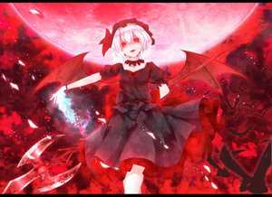 Rating: Safe Score: 114 Tags: animal bat dabadhi dress moon red_eyes remilia_scarlet touhou vampire weapon wings User: opai