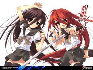 Rating: Safe Score: 53 Tags: itou_noiji katana long_hair school_uniform shakugan_no_shana shana sword thighhighs weapon white User: oranganeh