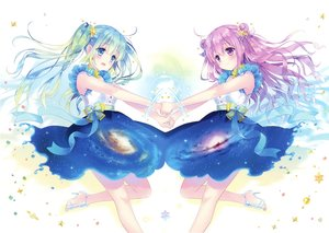 Rating: Safe Score: 44 Tags: 2girls aqua_eyes aqua_hair blush bow carnelian long_hair purple_eyes purple_hair scan skirt space stars twintails User: RyuZU