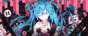 Rating: Safe Score: 203 Tags: aqua_eyes aqua_hair blood breasts chain cleavage hatsune_miku litsvn long_hair necklace twintails vocaloid wink User: Flandre93
