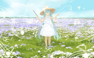 Rating: Safe Score: 44 Tags: dress flowers grass hatsune_miku lf music summer_dress twintails vocaloid User: sadodere-chan