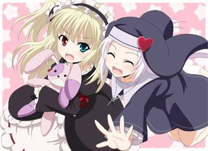 Rating: Safe Score: 55 Tags: 2girls bicolored_eyes blonde_hair boku_wa_tomodachi_ga_sukunai hasegawa_kobato nun tagme_(artist) takayama_maria white_hair User: Wiresetc