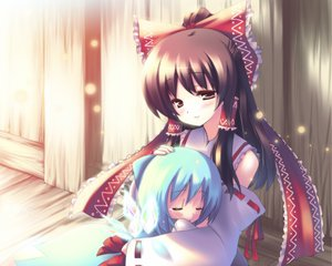 Rating: Safe Score: 55 Tags: blue_hair blush brown_hair cirno hakurei_reimu japanese_clothes long_hair miko ribbons short_hair touhou wings User: Tensa