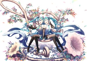Rating: Safe Score: 45 Tags: animal aqua_eyes aqua_hair bird boots hatsune_miku long_hair microphone music skirt tagme_(artist) thighhighs tie tree twintails vocaloid wink User: luckyluna