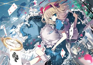 Rating: Safe Score: 49 Tags: alice_in_wonderland alice_margatroid apron blonde_hair blue_eyes clouds dress headband petals ra-bit ribbons short_hair sky socks touhou User: RyuZU