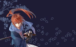 Rating: Safe Score: 68 Tags: all_male blue flowers himura_kenshin japanese_clothes katana long_hair male orange_hair petals ponytail purple_eyes rurouni_kenshin scar scarf sorax2112 sword third-party_edit weapon User: Cheesestorm