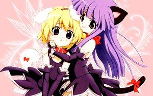 Rating: Safe Score: 34 Tags: animal_ears bell blonde_hair bow catgirl collar furude_rika higurashi_no_naku_koro_ni houjou_satoko long_hair pink pink_eyes purple_hair red_eyes short_hair tail User: Oyashiro-sama