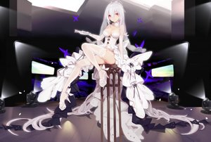 Rating: Safe Score: 64 Tags: breasts cleavage elbow_gloves gloves kiwamu long_hair thighhighs vocaloid white_hair yowane_haku User: RyuZU