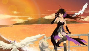 Rating: Safe Score: 86 Tags: animal bird black_hair clouds cross_akiha dress elbow_gloves long_hair pixiv_fantasia scenic sky sunset thighhighs water User: STORM