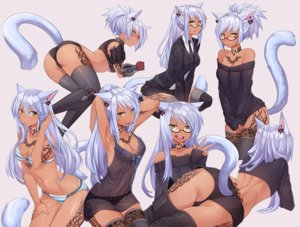 Rating: Questionable Score: 98 Tags: animal_ears ass blush breasts catgirl cleavage dark_skin final_fantasy final_fantasy_xiv glasses iwbitu long_hair miqo'te necklace ponytail see_through tail tattoo thighhighs white_hair yellow_eyes User: BattlequeenYume
