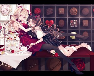 Rating: Safe Score: 75 Tags: 2girls blonde_hair brown_hair cake candy cherry_blossoms chocolate drink ereshkigal_(fate/grand_order) fate/grand_order fate_(series) flowers food ishtar_(fate/grand_order) long_hair pantyhose rose satsuki_(miicat) twintails User: BattlequeenYume