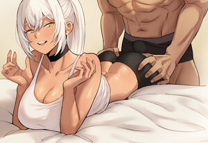 Rating: Explicit Score: 83 Tags: ass ass_grab breasts choker cleavage cona_ember dark_skin kkamja long_hair original ponytail shorts waifu2x white_hair yellow_eyes User: otaku_emmy