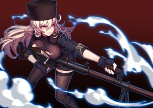 Rating: Questionable Score: 43 Tags: anthropomorphism blonde_hair boots breasts evan_yang girls_frontline gloves gun hat long_hair pink_eyes ptrd-41_(girls_frontline) skirt thighhighs torn_clothes weapon User: FormX
