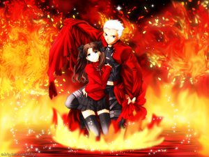 Rating: Safe Score: 14 Tags: archer fate_(series) fate/stay_night fire male tohsaka_rin User: Oyashiro-sama