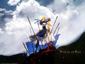 Rating: Safe Score: 15 Tags: armor artoria_pendragon_(all) blood clouds fate_(series) fate/stay_night hakua_ugetsu saber sword weapon User: Oyashiro-sama