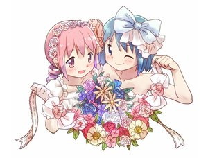 Rating: Safe Score: 35 Tags: 2girls blue_eyes blue_hair blush bow flowers gloves headband kaname_madoka kirikuchi_riku mahou_shoujo_madoka_magica miki_sayaka pink_eyes pink_hair ribbons short_hair wedding_attire User: otaku_emmy