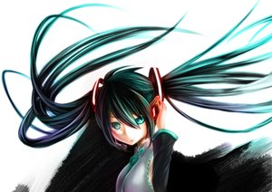 Rating: Safe Score: 59 Tags: aqua_eyes aqua_hair hatsune_miku headphones long_hair tie twintails vocaloid white User: HawthorneKitty