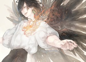 Rating: Safe Score: 45 Tags: all_male black_hair calcifer fire howl howl's_moving_castle male mizutame_tori necklace short_hair wings User: FormX