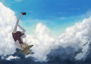 Rating: Safe Score: 59 Tags: clouds hat landscape moriya_suwako scenic sky thighhighs touhou yuu-rin User: Wiresetc
