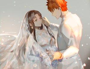 Rating: Safe Score: 139 Tags: brown_hair emiya_shirou fate_(series) fate/stay_night green_eyes long_hair male necklace orange_hair short_hair tohsaka_rin wedding wedding_attire weed User: Flandre93