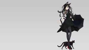 Rating: Safe Score: 70 Tags: animal bicolored_eyes black_hair cat catgirl dress fang gradient gray kimura_(ykimu) long_hair original pantyhose tail User: SciFi