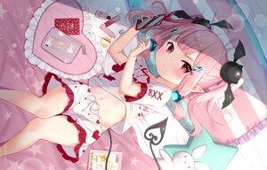 Rating: Safe Score: 63 Tags: bed blush book loli navel original pajamas phone pink_hair pointed_ears red_eyes short_hair shorts tsukiman twintails watermark yumeka_(tsukiman) User: otaku_emmy