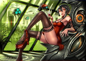 Rating: Safe Score: 187 Tags: aircraft black_hair city dress drink gia original red_eyes robot short_hair thighhighs wristwear User: SciFi