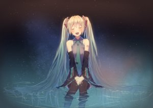 Rating: Safe Score: 16 Tags: boots hatsune_miku headphones katee long_hair skirt space stars tattoo thighhighs tie twintails vocaloid water User: RyuZU
