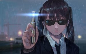 Rating: Safe Score: 31 Tags: black_hair jun_(5455454541) men_in_black night original parody rain short_hair sunglasses water User: SciFi