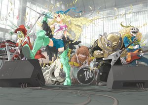 Rating: Safe Score: 89 Tags: arakawa_(aintnoroom) armor blonde_hair boots bow braids chain drums group guitar horns instrument long_hair original red_eyes shorts skull User: Wiresetc