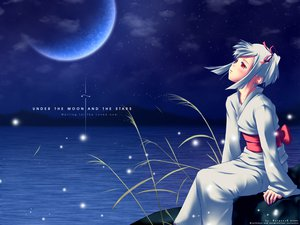 Rating: Safe Score: 53 Tags: blue blush japanese_clothes moon orange_eyes red_eyes short_hair sky stars water white_hair User: Oyashiro-sama