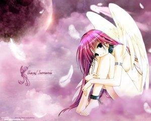 Rating: Questionable Score: 9 Tags: angel blue_eyes chain clouds collar feathers long_hair moon nude pink_hair sky stars suzuhira_hiro wings User: Oyashiro-sama