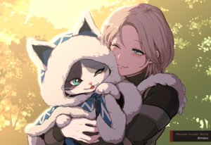 Rating: Safe Score: 36 Tags: animal aqua_eyes blonde_hair blush cape cat hoodie hug imjayu monster_hunter monster_hunter:_world palico short_hair watermark wink User: otaku_emmy