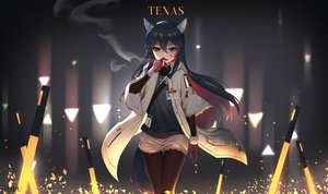 Rating: Safe Score: 60 Tags: animal_ears arknights black_hair cigarette gloves long_hair red_eyes shorts tail texas_(arknights) tttanggvl User: BattlequeenYume