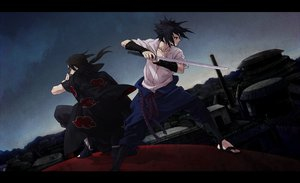 Rating: Safe Score: 83 Tags: black_hair headband male naruto naruto_shippuden red_eyes shiga_(nattou_mo) sword uchiha_itachi uchiha_sasuke weapon User: STORM