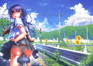 Rating: Questionable Score: 115 Tags: ass bicycle botan_mochito clouds flowers leaves long_hair original panties scan scenic school_uniform see_through skirt skirt_lift sky summer sunflower underwear wet User: BattlequeenYume