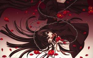 Rating: Questionable Score: 64 Tags: brown_hair chain dress flowers long_hair petals red_eyes ribbons sakurazawa_izumi User: gnarf1975